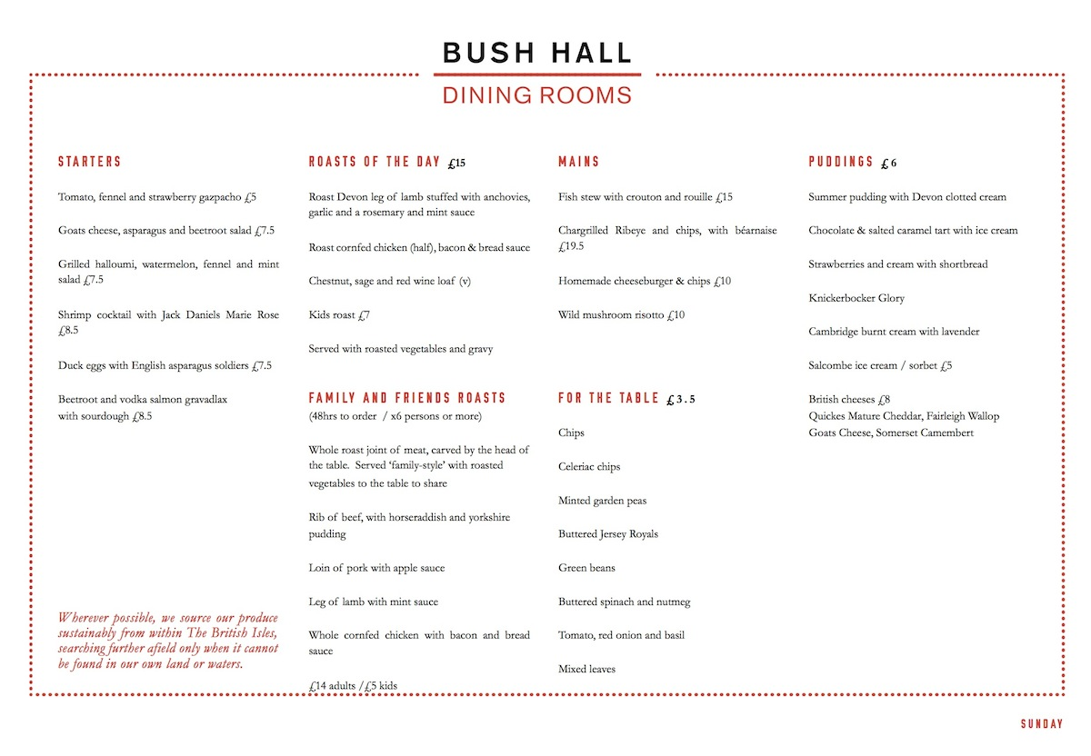 Bush Hall Dining Rooms Roast Winner Roast Dinner
